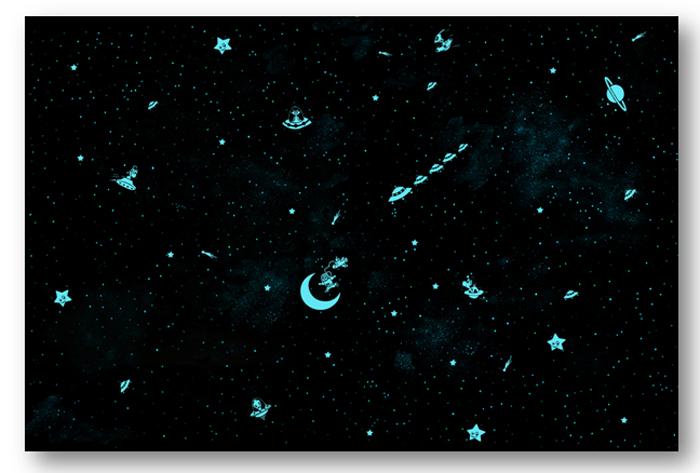 Ciel étoilé de 10 m² avec petit astronaute et extraterrestres